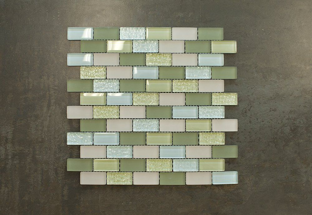 "Amazon.com: Arctic Olive Glass Mosaic Tile - Green, Blue & Beige 1""x2"" Glass Tile: Home Improvement"