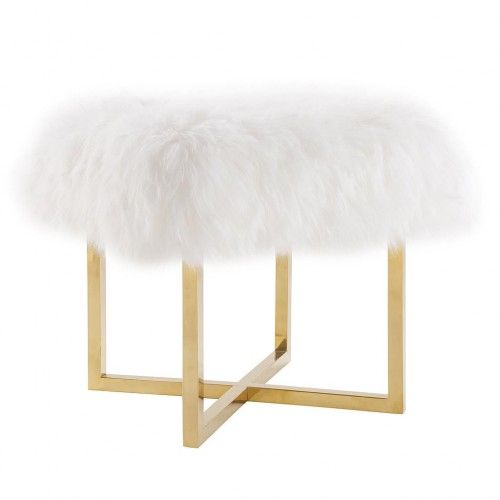 Fluffy White Sheepskin Footstool Bench Gold Legs images