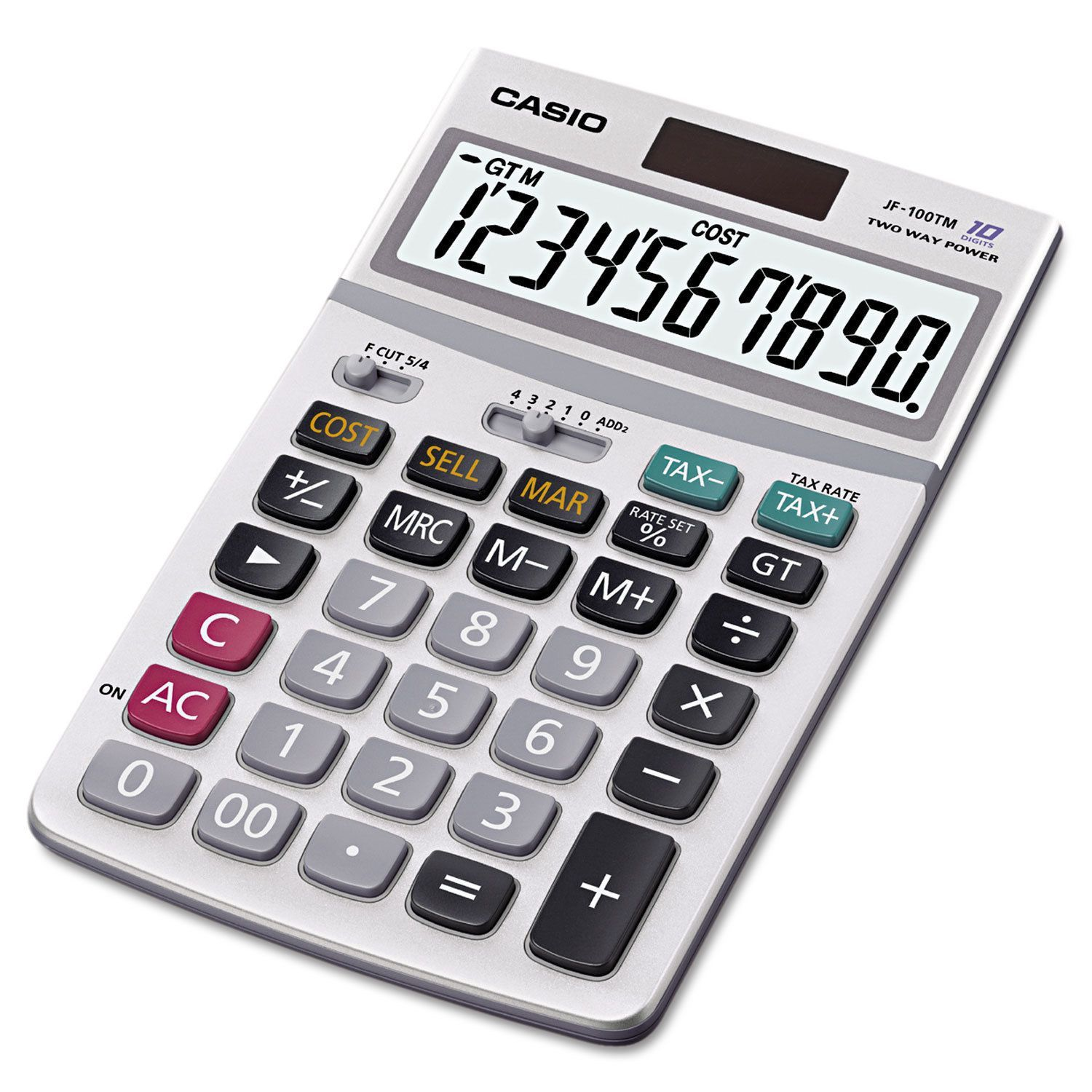 Casio Desktop Calculator 10 Digit Lcd Silver Solar Calculator Calculator Casio