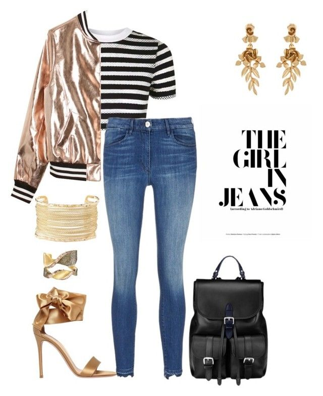 """""""The girl Jeans"""" by fashionfabulosa on Polyvore featuring Topshop, Sans Souci, Aspinal of London, Gianvito Rossi, Oscar de la Renta and Charlotte Russe"""
