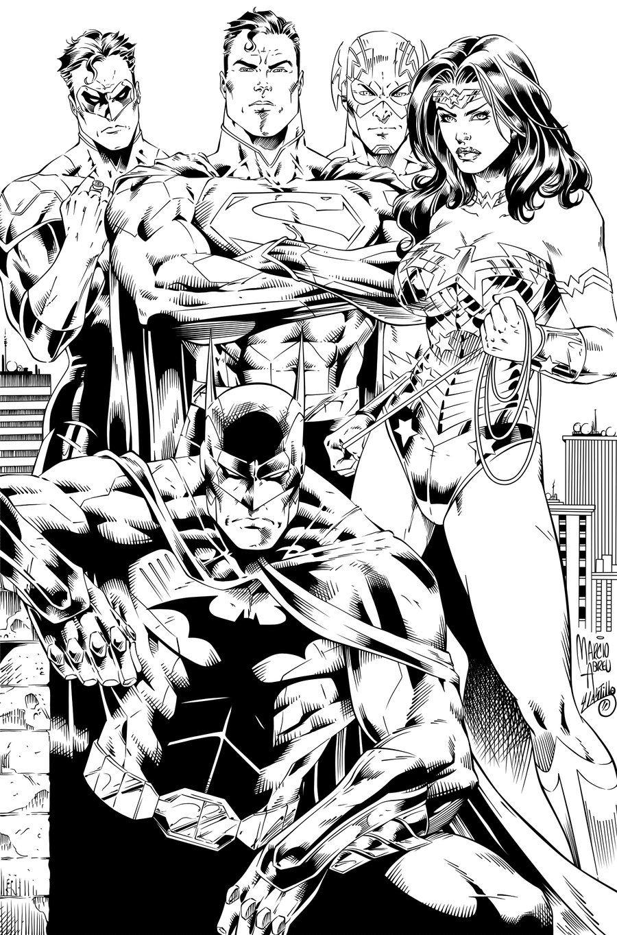 Batman, Wonder Woman, Superman, Flash and GL Ink by SWAVE18 ...
