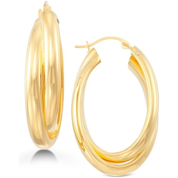 Signature Gold Oval Twist Hoop Earrings in 14k Gold over Resin