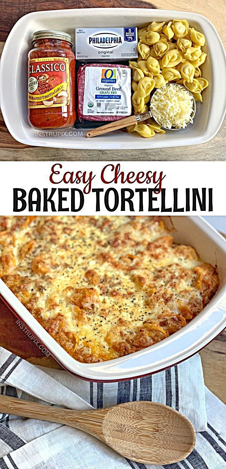 Cheesy Baked Tortellini Casserole With Meat Sauce Looking for quick and easy dinner recipes for the family? This simple recipe is the BEST meal for busy weeknights. Even your picky eaters will love it! It's made with just a handful of cheap and basic ingredients. - Easy Cheesy Baked Tortellini (With Meat Sauce) - Instrupix #whatsfordinnerrecipes