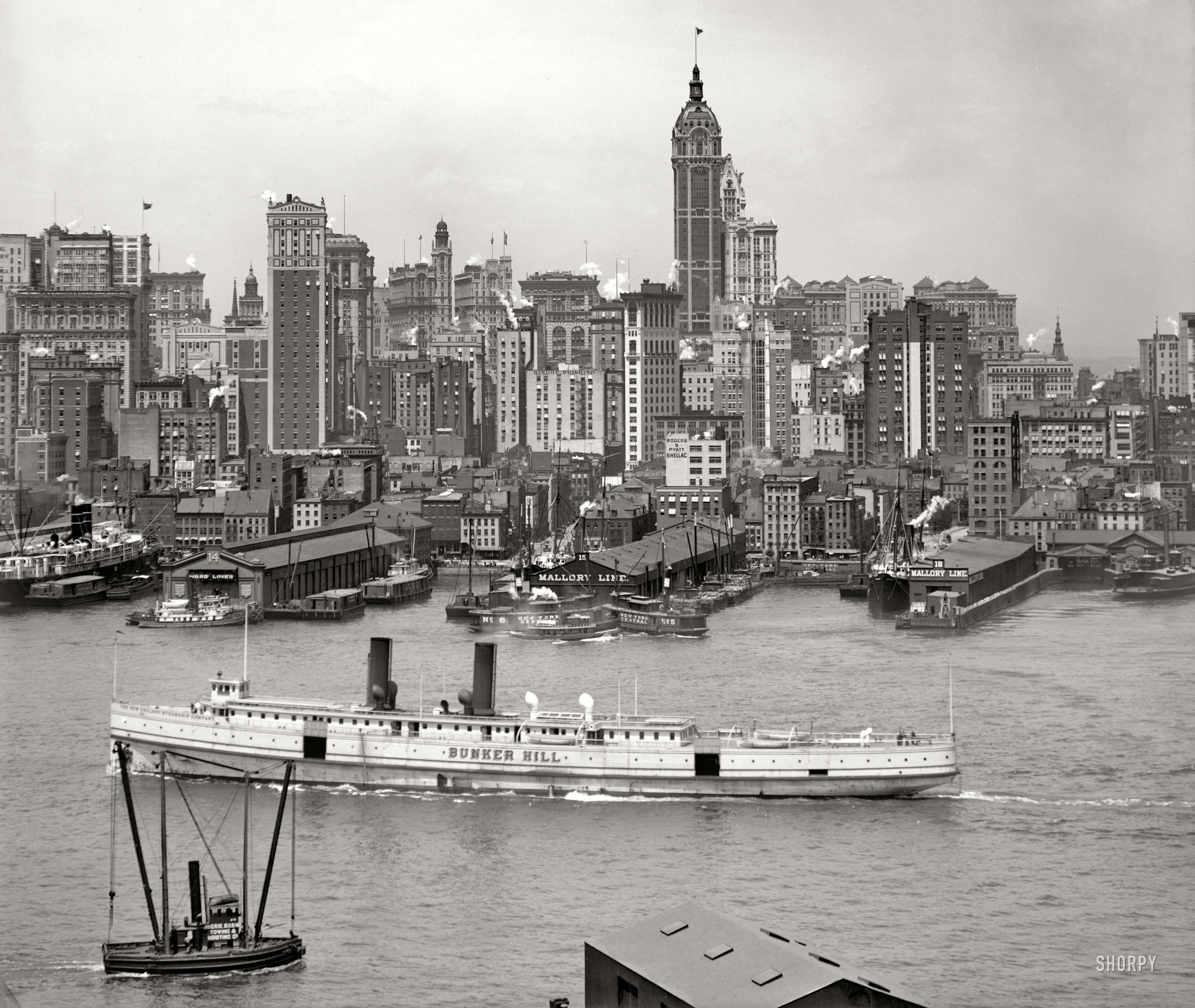 "Manhatten New York: Manhattan Circa 1908. ""New York Skyline."""