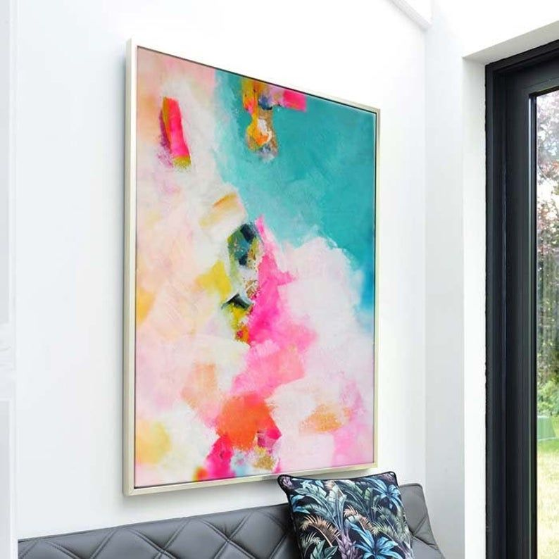 Miami Mint Pink Abstract Fine Art Print Teal Green With Etsy In 2021 Abstract Paper Abstract Teal Painting
