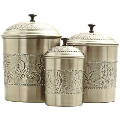 old dutch international 3-pc. antique embossed canister set