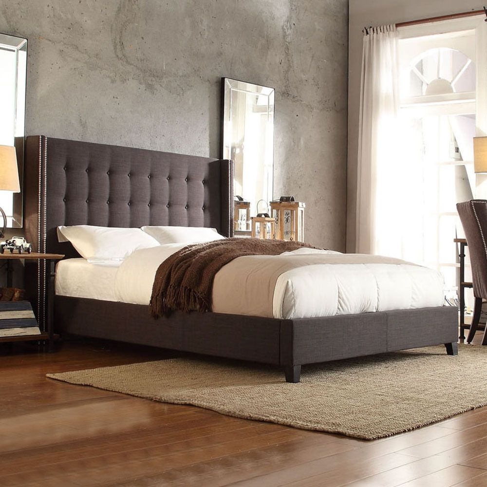 Inspire q marion dark grey linen nailhead wingback tufted upholstered bed overstock shopping Master bedrooms with upholstered beds