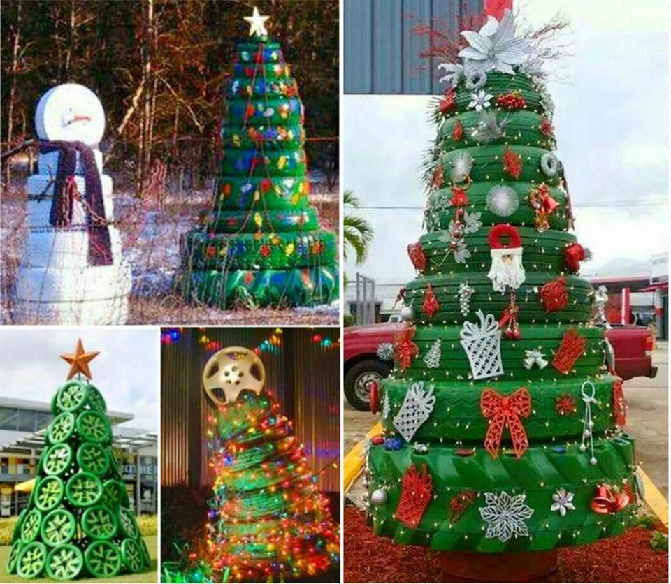 Tyre christmas trees holidays pinterest tired for Tire decoration ideas