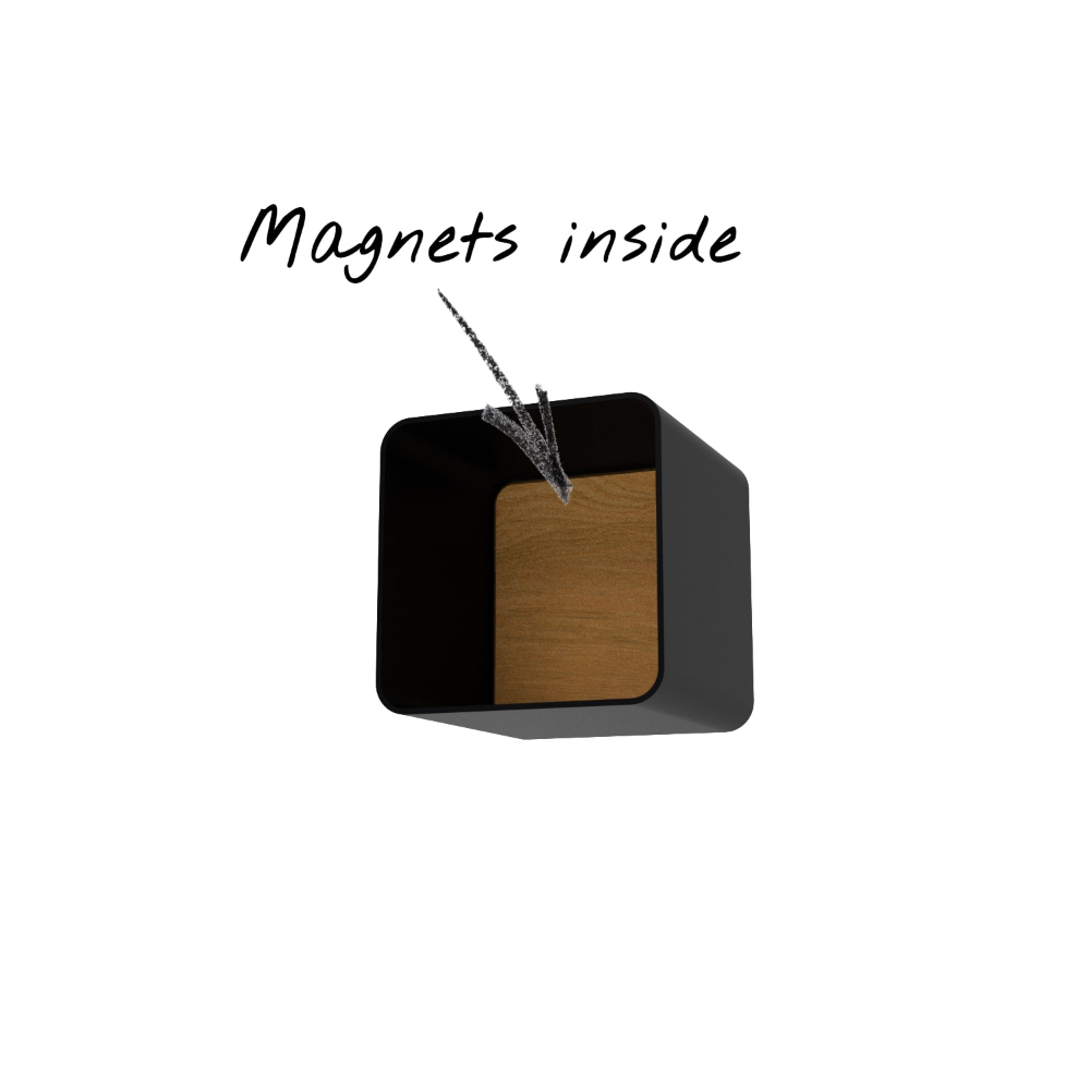 Wandregal Magic 6 Holz Eiche Metall Schwarz Rund Wandregal