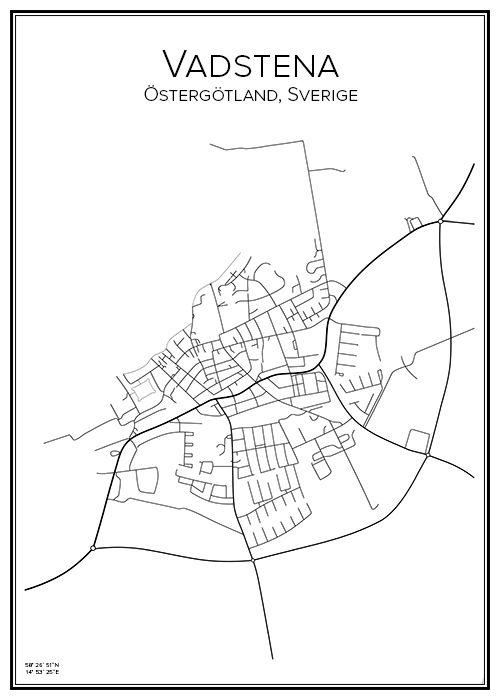 Junsele Karta Sverige.Vadstena City Prints Map Design Och City
