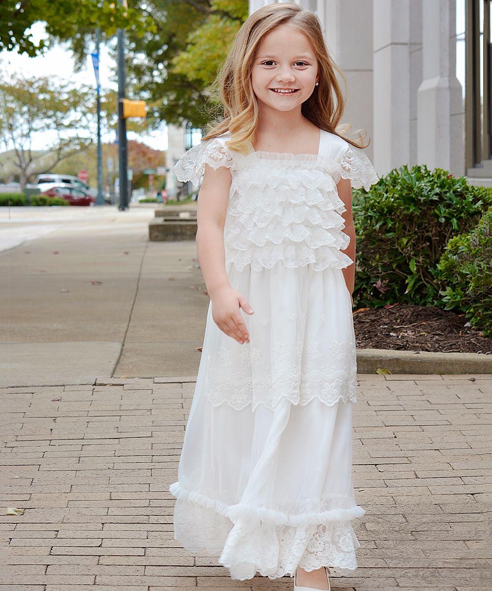 Wedding dresses for black girls  White LaceHem AngelSleeve Dress  Infant Toddler u Girls