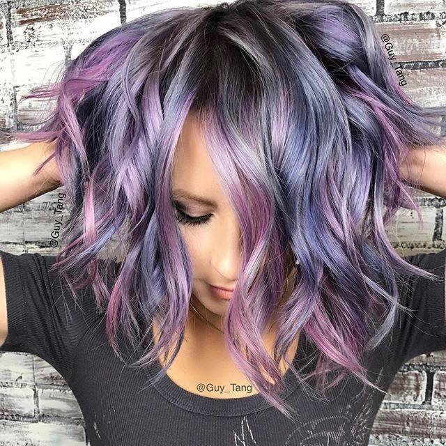 purple grey color crush hair