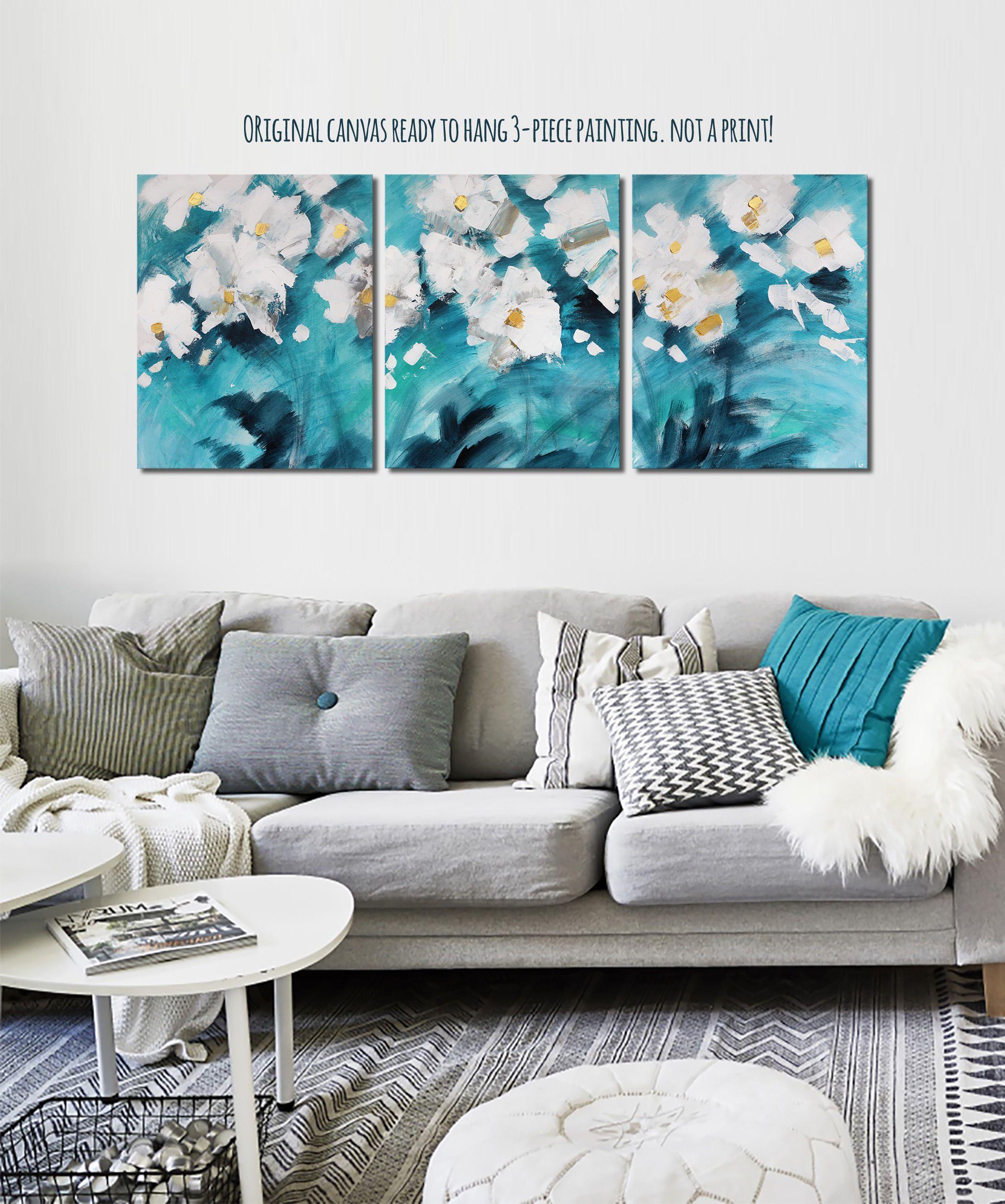 Teal Original Canvas Art Teal And Gold Decor Turquoise Canvas Art 3 Piece Canvas  Art Bedroom