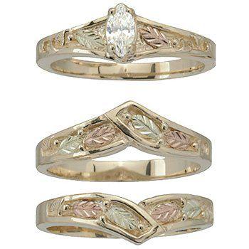 Black Hills Gold Ring Ladies Wedding Set Bridal Diamond 20 Solitare Black Hills Gold Jewelry Black Hills Gold Wedding Rings Black Hills Gold Rings