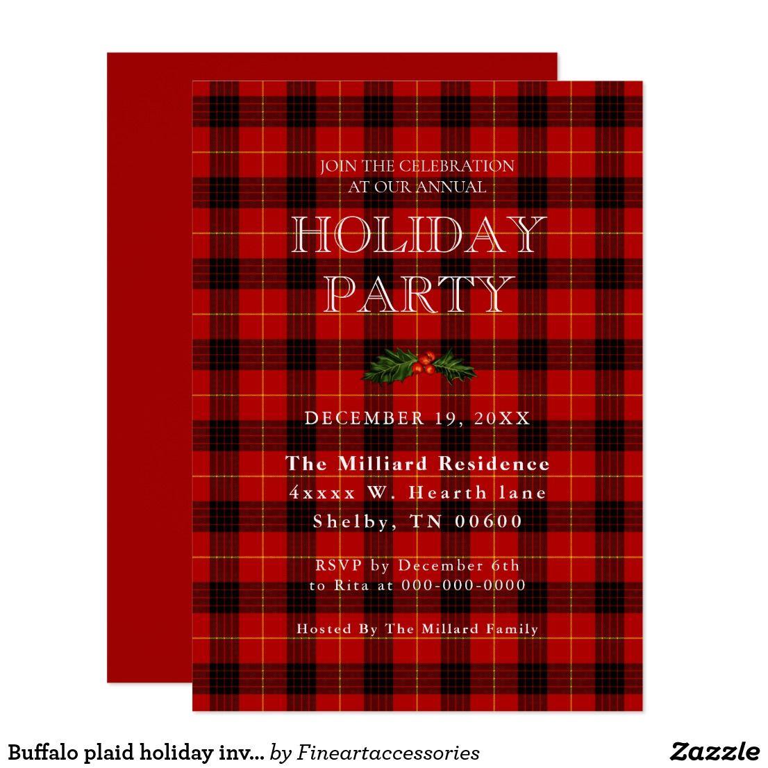 Buffalo plaid holiday invitation