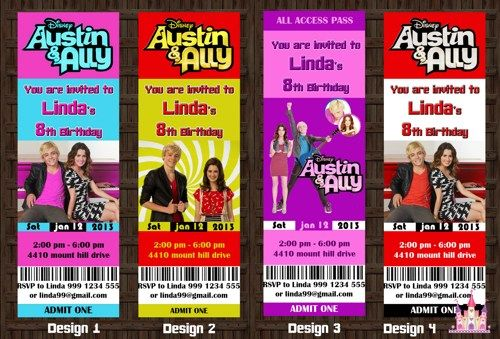 Austin Ally Birthday Party Invitation Ticket Printable Digi