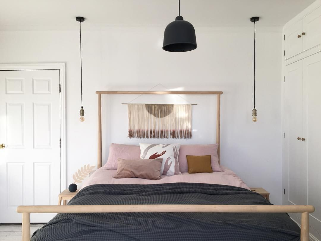 Bedroom Interior Inspiration Scandinavian Decor Boho Bedroom Nordic Home Ikea Gjora Wooden Frame Bed With B Bedroom Interior Ikea Wooden Bed Bedroom Design