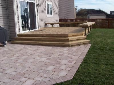 Wood Deck That Steps Down To Paver Patio Adjacent Columbus Ohio And Stairs Photo Gallery