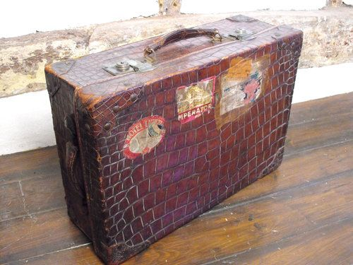 Alligator Luggage Antique Crocodile Skin Silk Travelling
