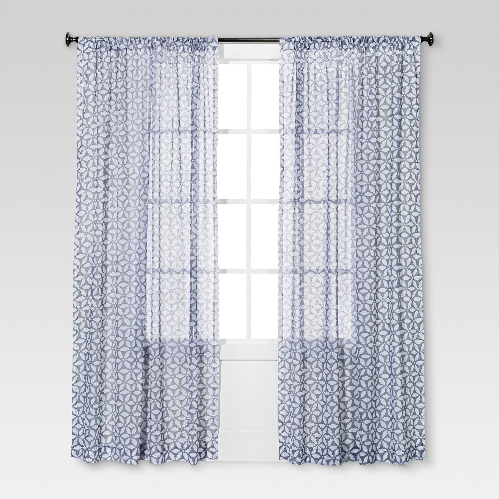 Sand Dollar Printed Sheer Curtain Panel Gray