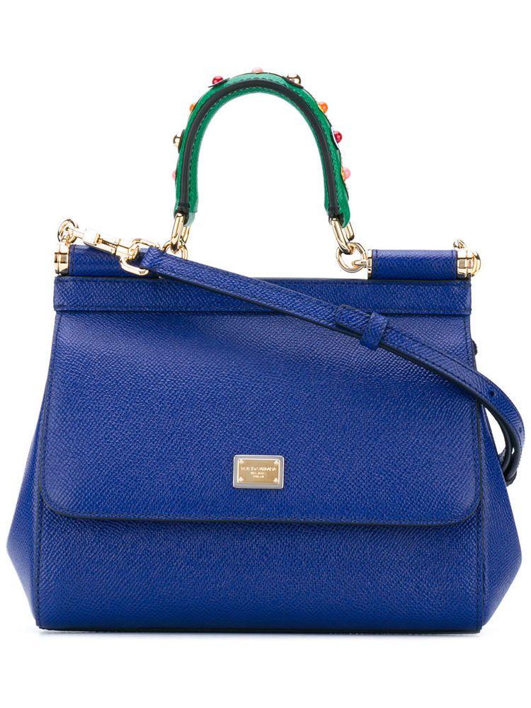 ebc3f9d0d171 DOLCE GABBANA SICILY MINI BAG BLUE HANDLE EMBROIDERY B6003-AI352-80648   DOLCEGABBANA  ShoulderBag