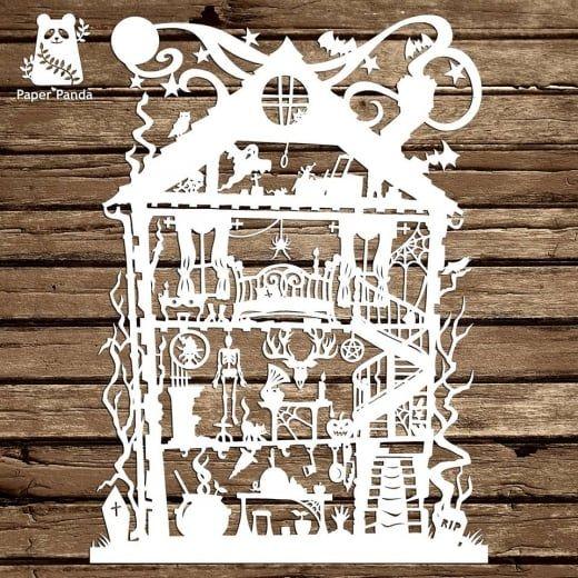 Paper panda papercut diy design template halloween house paper panda papercut diy design template halloween house maxwellsz