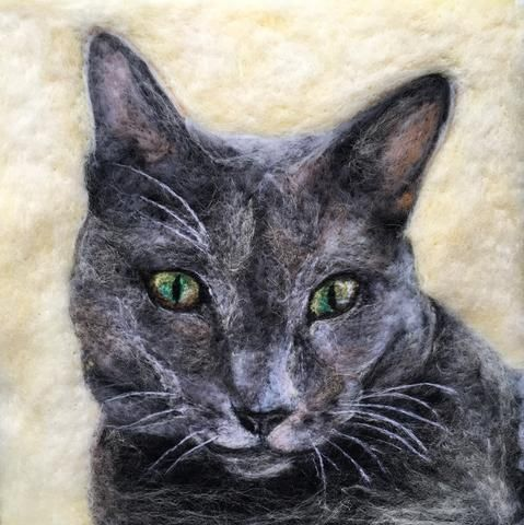 "Sarah Vaci works from her studio in Totnes, Devon to create uniquely textured and realistic pet portraits ""painted"" with wool, that can even include your pet's"