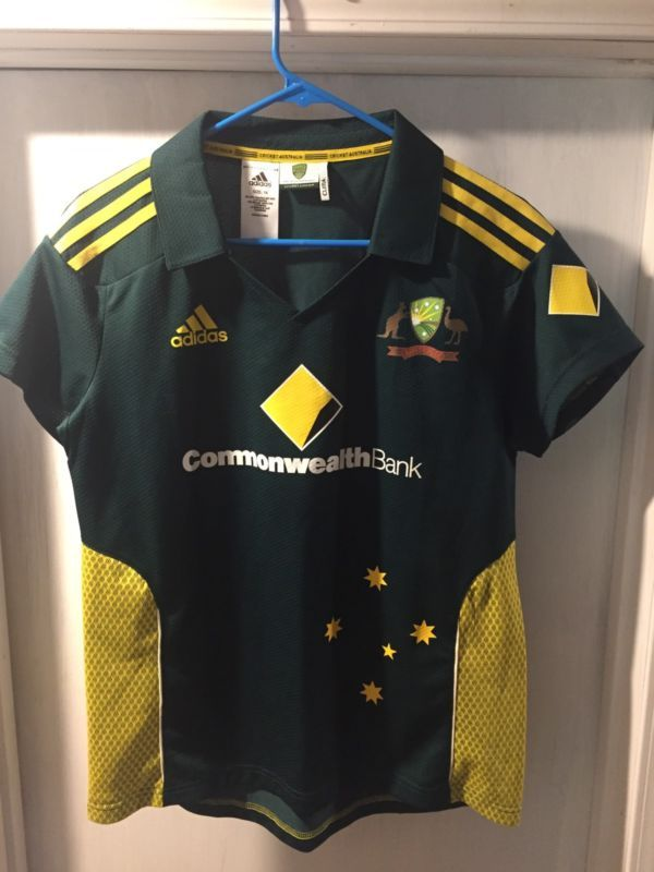 b4675a4f00cd Adidas Climacool Australia Cricket Jersey Shirt Youth Size L 14 Nwot ...