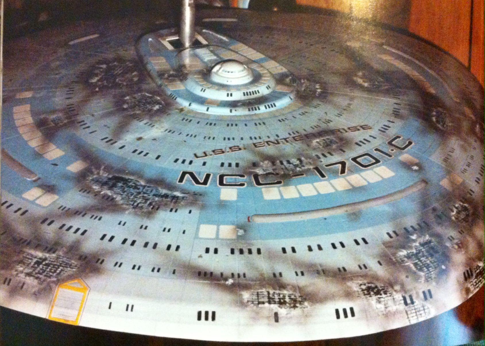 Battle damaged Enterprise C model from Yesterday's Enterprise, 1990.