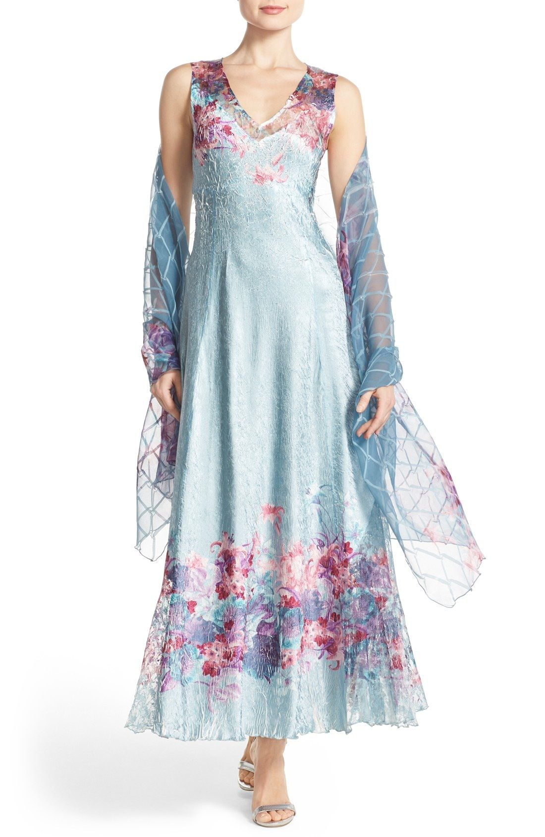 Komarov Corset Back Charmeuse Gown with Shawl (Regular | Beauty ...