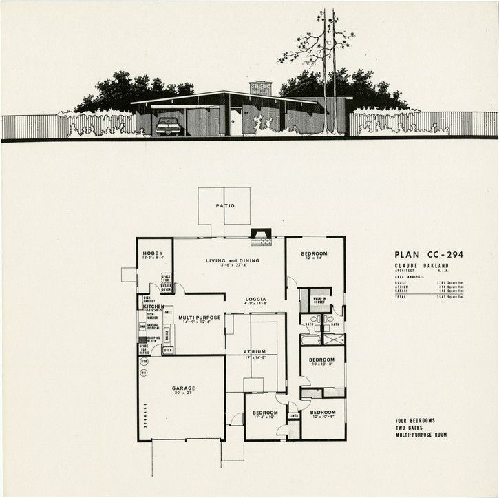 Plans for 4 model eichler homes in concord eichler mid for Eichler style home plans