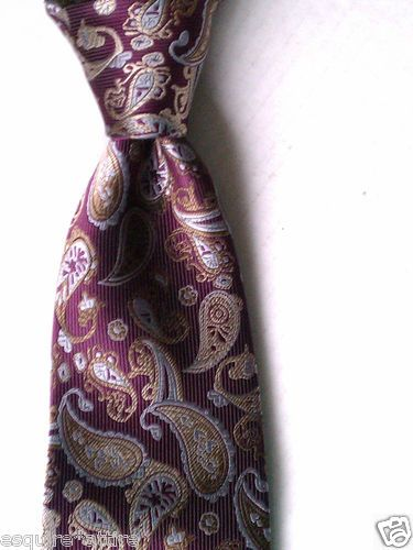 Valerio Garati Men Dress Tie - Burgundy color with parsley pattern