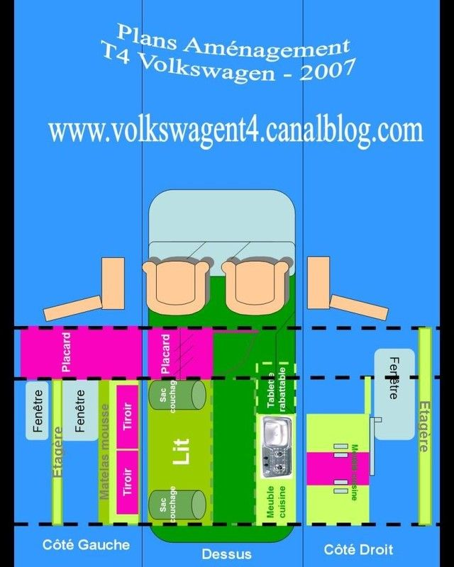 Plans am nagement t4 volkswagen camping car combi camping car am nagements d 39 un volkswagen t4 - Plan amenagement transporter t4 ...