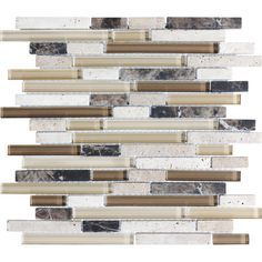 14 In X 12 In Java Stone And Glass Mosaic Wall Tile