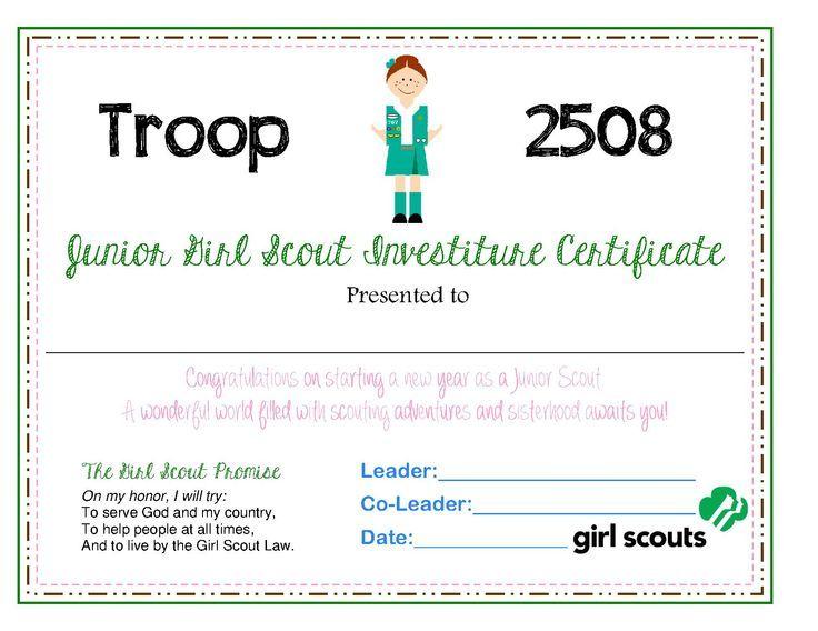 Girl Scout Investiture Certificate Juniors | Junior ...
