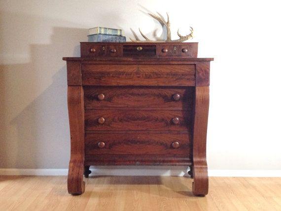 Antique 1800's empire dresser in flaming mahogany. vintage furniture - Antique 1800's Empire Dresser In Flaming Mahogany. Vintage Furniture