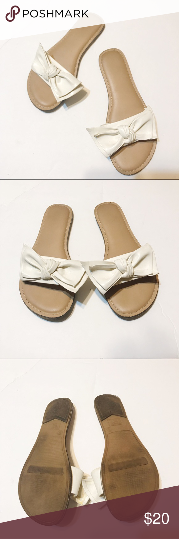 b61b6ca806b0 Big Bow Slide Sandals Size 6 Adorable slide sandals with big white bow!  Women s size 6. Good preloved condition. Man made material