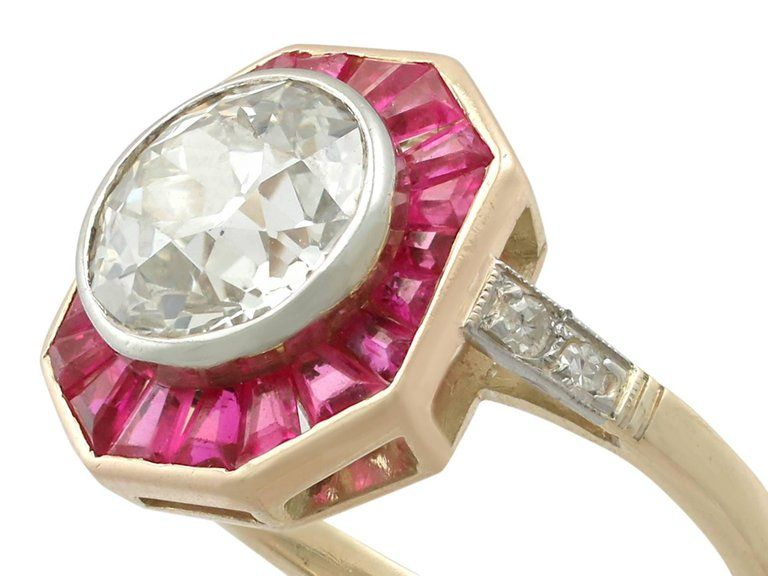 Art Deco 2 10 Carat Diamond And Ruby Yellow Gold Cocktail Ring For Sale At 1stdibs Retro Cocktail Ring Yellow Gold Cocktail Ring Gold Cocktail Ring