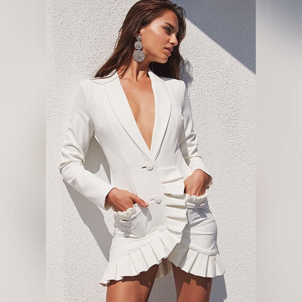 c724540c5b5 ADAMA White V Neck Long Sleeve Mini Irregular Hem Ruffle Sexy Bodycon Dress
