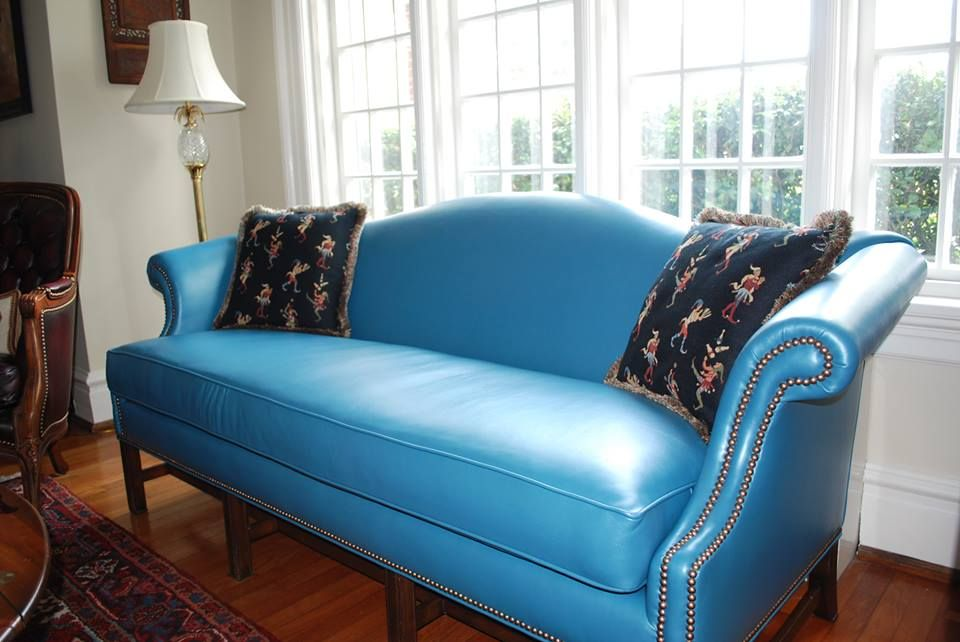 Fabulous blue leather Chippendale sofa | living in style ...