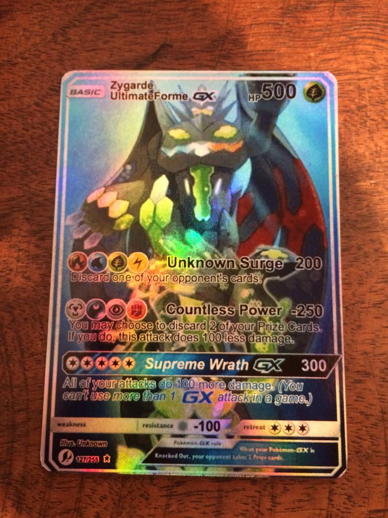 carte pokemon gx et ex Gx Zygarde ex pokemon orica carte personnalisée | Etsy (With