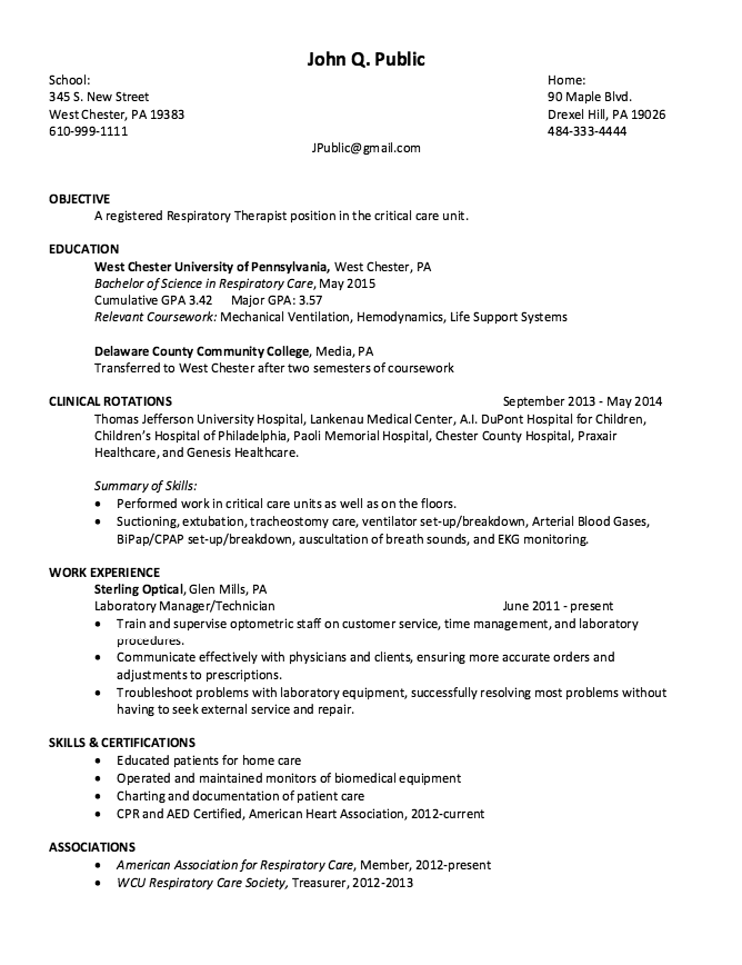 Respiratory Therapist Resume Example  HttpResumesdesignCom