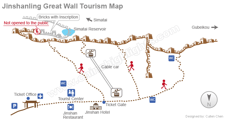 Jinshanling Tourism Map Great Wall Of China Tourist Center Map