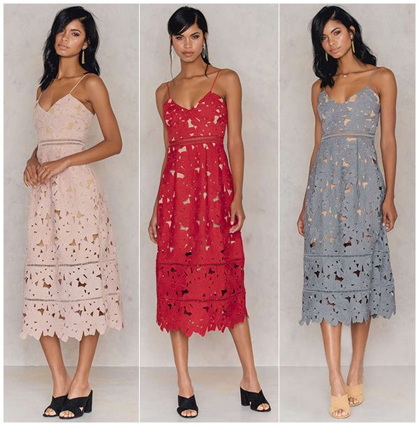 b4a476ab31f8 NA-KD Boho Floral Crochet Midi Dress in nude, red and dust blue (Self- Portrait Azaelea inspired)