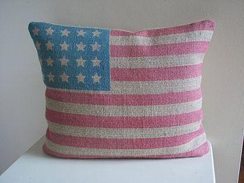 Stars And Stripes Burlap Cushion