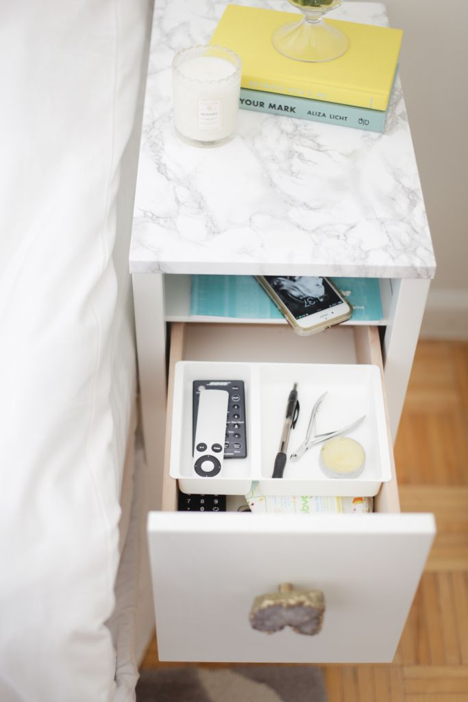 Ikea nordli nightstand revamp made by monique diy for Ikea nightstand shelf