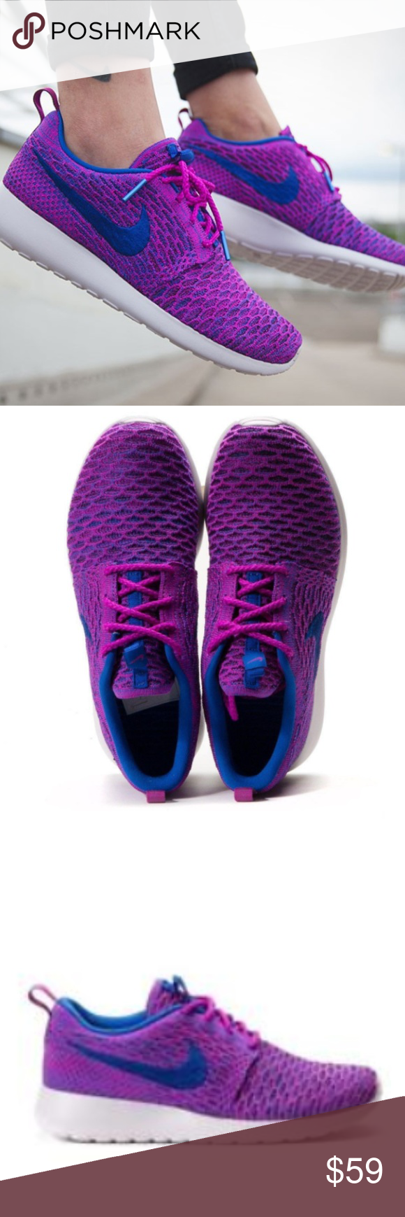 cheap for discount 37348 07fe8 Nike Roshe One Fly Knit Trainers NIKE ROSHE ONE FLYKNIT Trainers Fuchsia  Flash Style 704927 501
