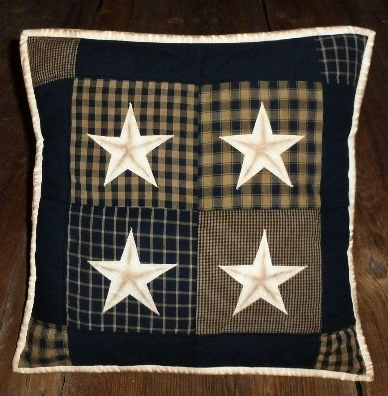 Black Quilted Pillow Cover 16 inch Tea Dyed Stars Plaid Check ...