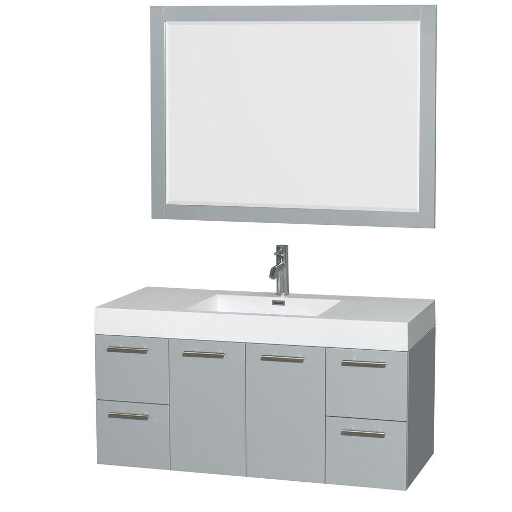 Wyndham Collection Amare 47 In W X 21 In D Vanity In Dove Gray With Acrylic Resin Vanity Top In White With White Basin And 46 In Mirror Single Bathroom Vanity