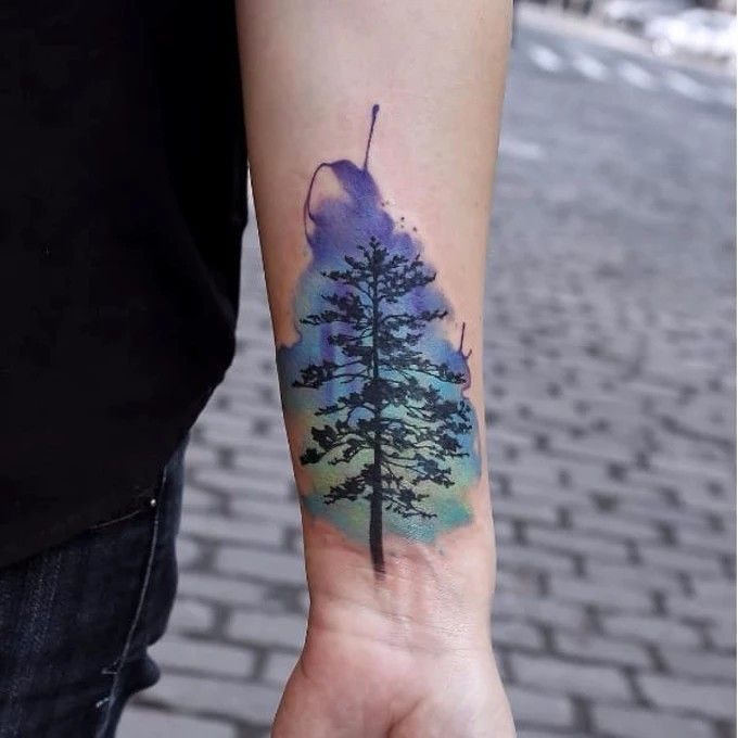Pine Tree Tattoo By Joice Wang Joicewang Watercolor Graphic